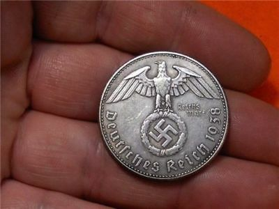 1938  German War Eagle One Reichsmark Wwii Collectible Coin