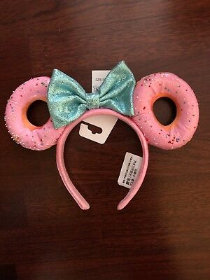 Disney World Foodie Minnie Mouse Glitter Bow Sprinkle Donut Ears Headband