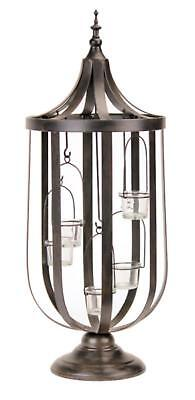 "Melrose 27"" Antique-Style Bronze Birdcage Glass Votive Candle Holder"