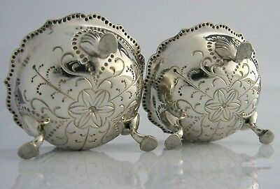 Stunning Victorian Solid Sterling Silver Salt Cellars 1881 Antique