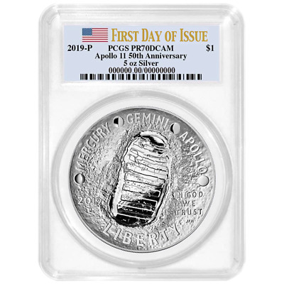2019-P Proof $1 Apollo 11 50th Ann 5oz. Silver Dollar PCGS PR70DCAM FDOI Flag La