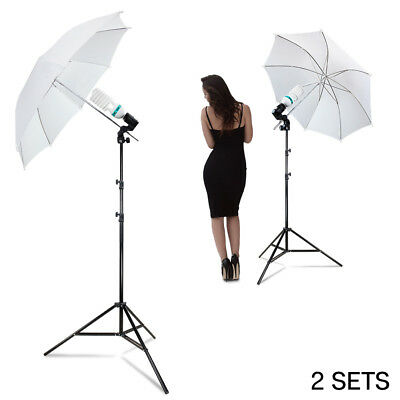"2 PACK 33"" Cool White Soft Shoot Through Umbrella Stand Photography Lighting Kit"