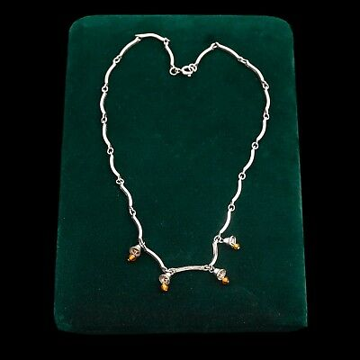 Antique Vintage Deco Sterling Silver Danish Style Baltic Amber Necklace Pendant