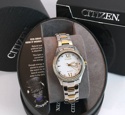 CITIZEN Women's Eco-Drive FE1144-85B Silhouette Crystal Accent Two-Tone WATCH