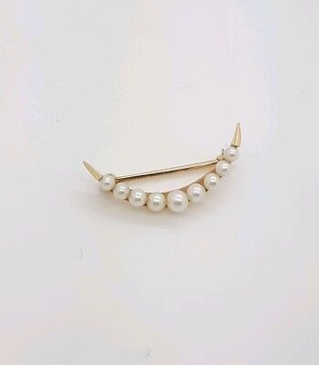 Vintage 14kt Yellow Gold Pearl Pin / Brooch /Scarf Pin