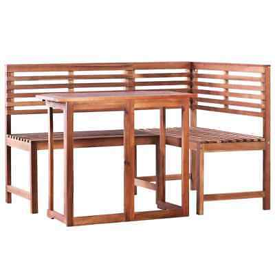 vidaXL Solid Acacia Wood Balcony Table and Corner Bench Set 2 Piece Furniture