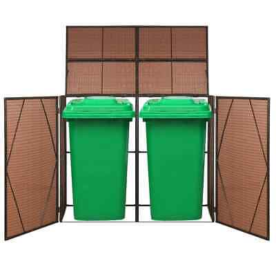 vidaXL Double Wheelie Bin Shed Poly Rattan 153x78x120cm Brown Waste Container