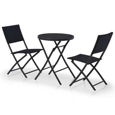 vidaXL Outdoor Bistro Set 3 Piece Poly Rattan Black Garden Patio Table Chair