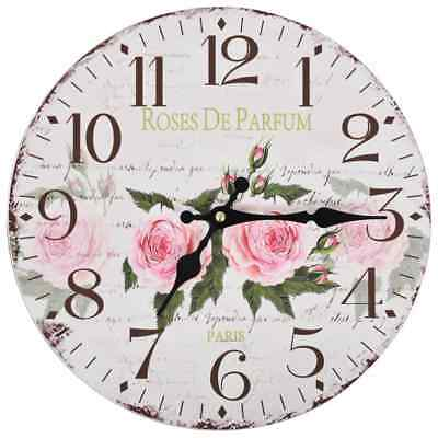vidaXL Vintage Kitchen Wall Clock Flower 30cm Home Office Living Room Timer