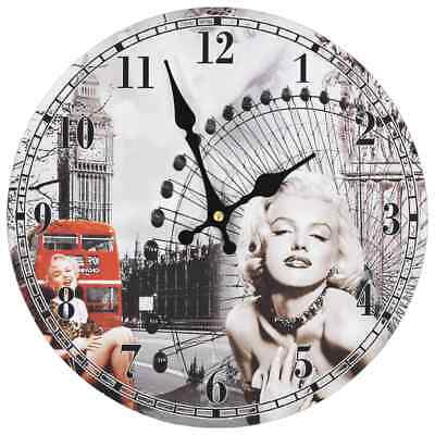 vidaXL Vintage Wall Clock Marilyn Monroe 30cm Home Office Living Room Timer