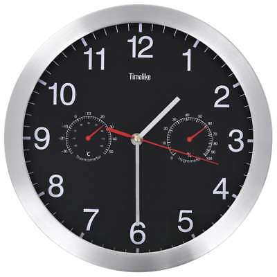 vidaXL Wall Clock with Quartz Movement Hygrometer Thermometer 30cm Black Time