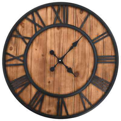 vidaXL Vintage Wall Clock with Quartz Movement Wood and Metal 60cm XXL Timer