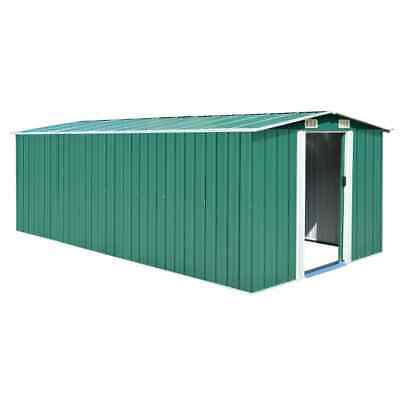 vidaXL Garden Shed 257x497x178cm Metal Green Outdoor Tool Storage House Cabin