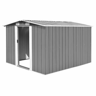 vidaXL Garden Shed 257x298x178cm Metal Grey Outdoor Tool Storage House Cabin