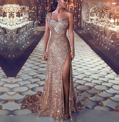 Gold glitter one shoulder long evening party prom dress sizes UK 6/8/10/12