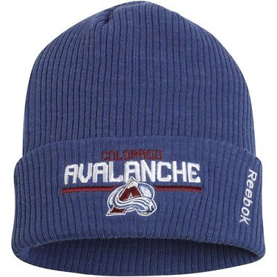 separation shoes 87502 b610f Reebok Colorado Avalanche Navy Center Ice Locker Room Cuffed Knit Hat