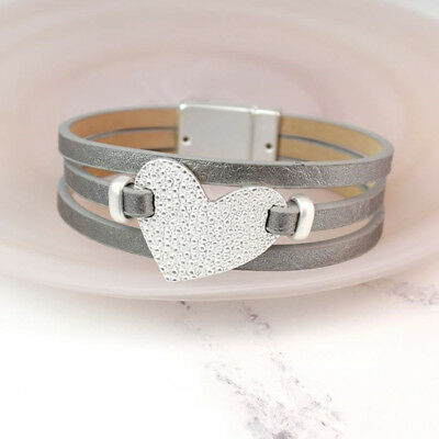 Ladies Girls Jewellery Grey leather bracelet with textured silver plated heart