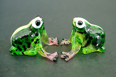 2 Tiny Glass FROGS Green & Black Spotted Glass Ornaments Glass Animal Figures