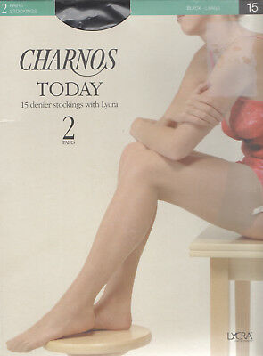 Charnos - 15 Denier  Stockings With Lycra - 2 Pairs - Large - Black - (New)