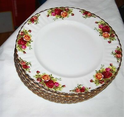 "Royal Albert Old Country Roses China Made in England - 8 dinner plates 10.5"" dia"