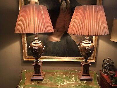 Unusual Pair Of Classical Antique Bronze Urn Table Lamps, Refurbished