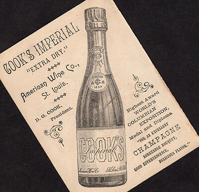Cooks American Wine 1890s St Louis Champagne Columbian Expo Victorian Trade Card