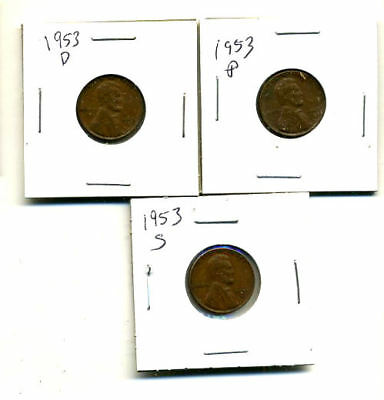 1953 P,d,s Wheat Pennies Lincoln Cents Circulated 2X2 Flips 3 Coin Pds Set#4018