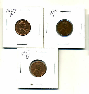 1947 P,d,s Wheat Pennies Lincoln Cents Circulated 2X2 Flips 3 Coin Pds Set#3147