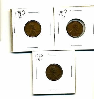 1940 P,d,s Wheat Pennies Lincoln Cents Circulated 2X2 Flips 3 Coin Pds Set#804