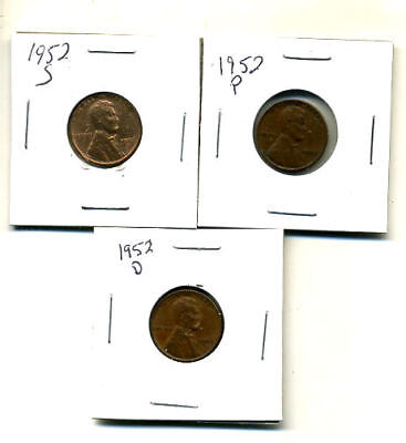 1952 P,d,s Wheat Pennies Lincoln Cents Circulated 2X2 Flips 3 Coin Pds Set#340