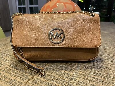 a7b8def323f6 Michael Kors Brown Pebbled Leather Flap Crossbody Shoulder Bag With Gold  Chain