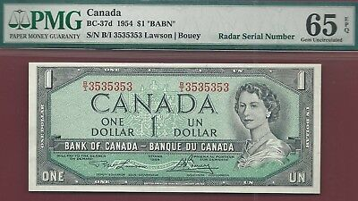 Canada 1954 $1 BC-37d 2 Digit Repeating Radar  B/I3535353  PMG GemUnc 65 EPQ