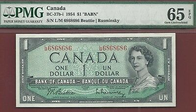 Canada 1954 $1 BC-37b-i 2 Digit Repeating Radar  L/M6868686  PMG GemUnc 65 EPQ
