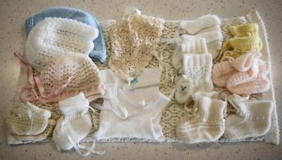 Lot of 14 Hand Knitted Baby Booties, Caps, Singlet, Small Wrap 0-6 months KC362