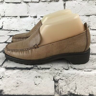 70dd08beb9b Cole Haan Country Womens Sz 6.5 Loafers Brown Textured Leather Slip On Shoes