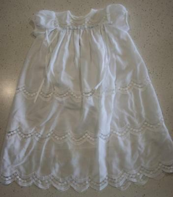 Hand Fashioned Peggy Bennett White Embroidered Christening Gown or Dress KC363