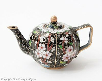 Chinese Black Enamel and Cloud Wire Ground Miniature Teapot with Beijing Label