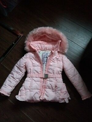bb602d39b GIRLS PINK LE Chic Ruffle Coat Fur Hood Size 116 Age 5-6 Years ...