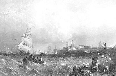 Portsmouth, SAILBOATS SHIP IN ROUGH SEAS STORM WAVES ~ 1855 Art Print Engraving