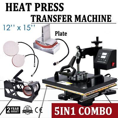 "5 in 1 Heat Press Machine For T-Shirts 12""x15"" Combo Kit Sublimation Swing Away"