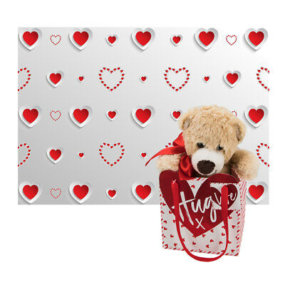 Valentines Little Teddy Bear in a Bag with 'Hugs' Tag + FREE SHEET OF GIFT WRAP