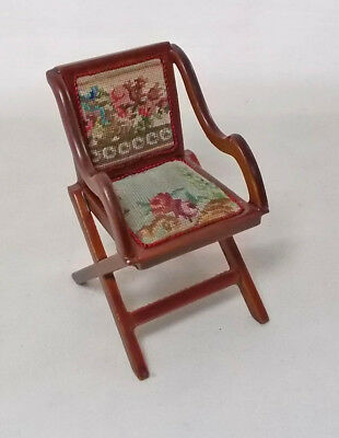 Puppenstuben & -häuser Dollhouse Miniature JiaYi Canvas Hooded Canopy Chair in Figural Petit Point