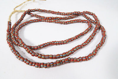 Alte gestreifte Glasperlen AB3 Old striped African Trade beads Afrozip