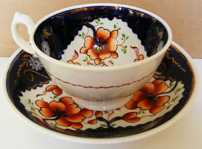 Gaudy Welsh - Tricorn Pattern Teacup and Saucer - c1845 - 1860