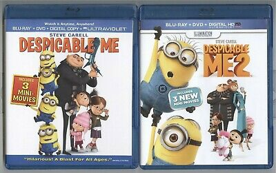 Despicable Me 2 (2013) Steve Carell Blu ray + DVD LIKE NEW FREE SHIPPING