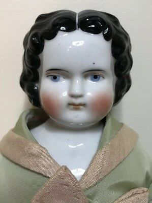 "Antique Flat Top High Brow China Doll 15"" Cloth Body Victorian Apple Cheek"