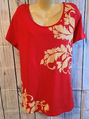 068ed750f5156 Women s Plus Size Blouse Top Shirt 1X 18 20 St Johns Bay Red Yellow Scoop