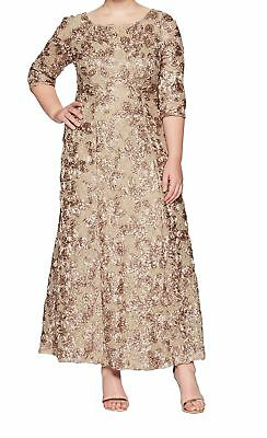 adbef2f0f11 Alex Evenings NEW Beige Women's 14W Plus Rosette Sequined Lace Gown $269-  #130