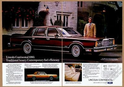 1980 Lincoln Continental Town Coupe And Town Car Photo Vintage Print