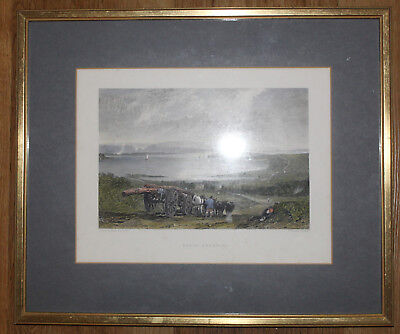 1831 POOLE Harbour Hand Coloured Print Framed Behind Glass JMW Turner